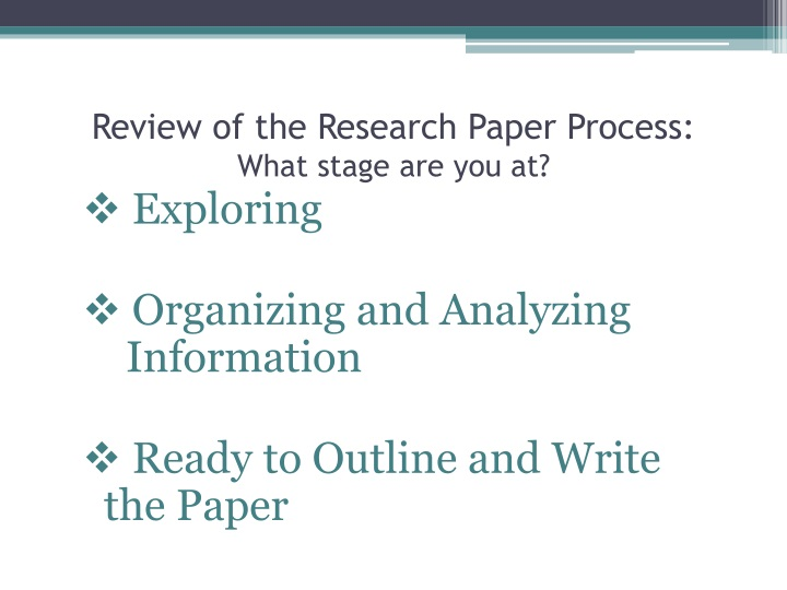 Review of the research paper process what stage are you at