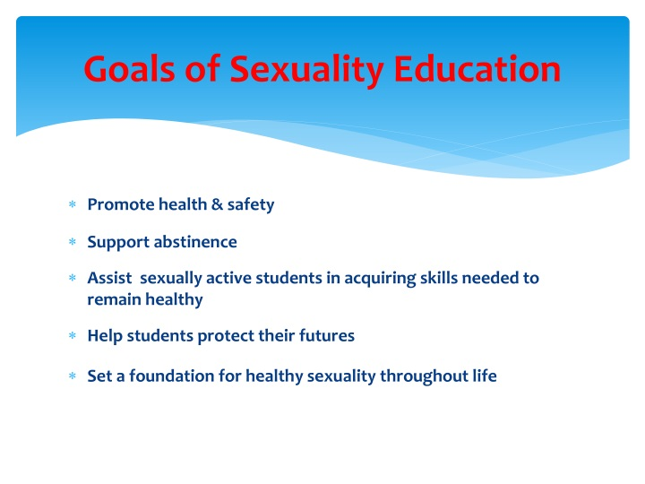 Goals of Sexuality Education