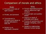 comparison of morals and ethics