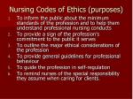 nursing codes of ethics purposes