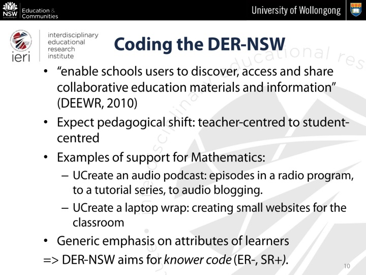 """enable schools users to discover, access and share collaborative education materials and information"" (DEEWR, 2010)"