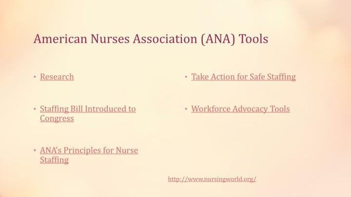American Nurses Association (ANA) Tools