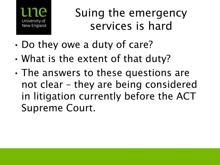 Suing the emergency services is hard