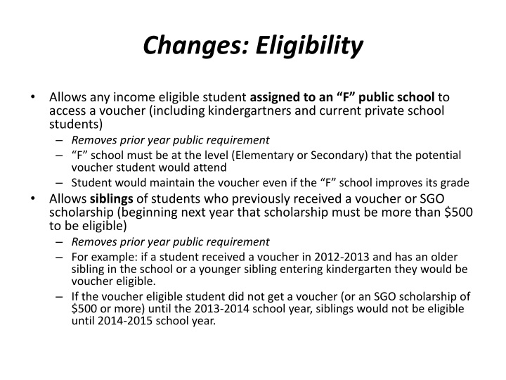 Changes: Eligibility