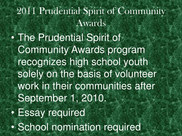 2011 Prudential Spirit of Community Awards