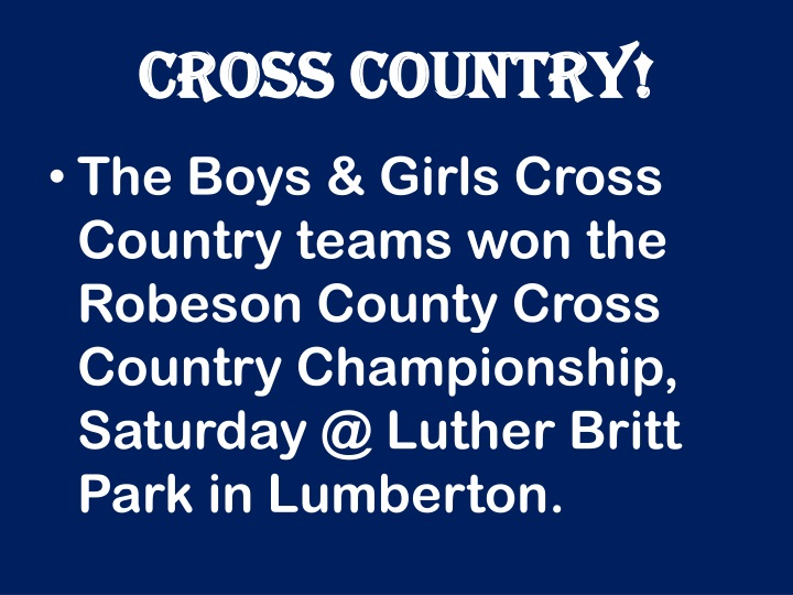 CROSS COUNTRY!