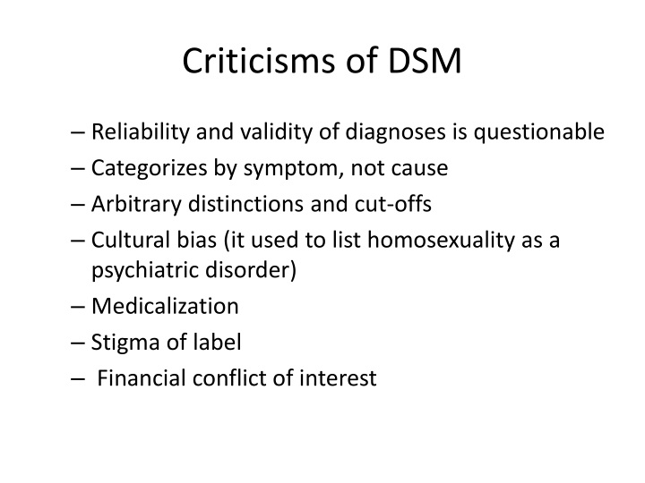 Criticisms of DSM