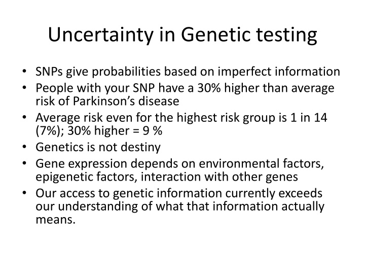 Uncertainty in Genetic testing
