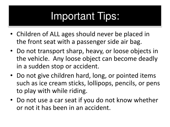 Important Tips: