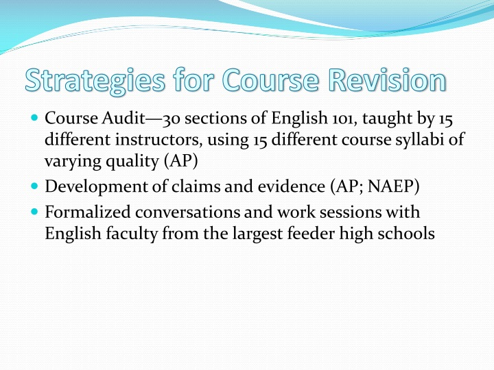 Strategies for Course Revision