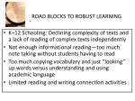 road blocks to robust learning