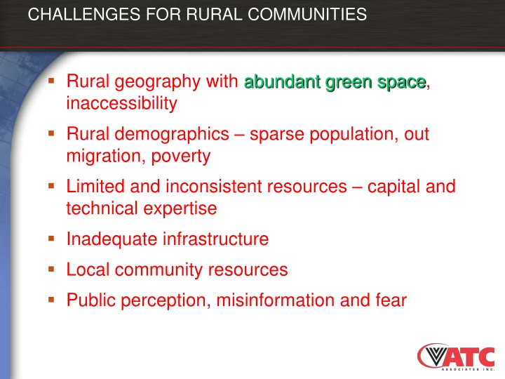 CHALLENGES FOR RURAL COMMUNITIES
