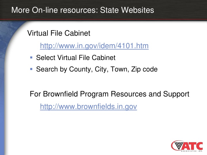 More On-line resources: State Websites