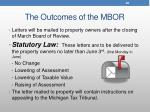 the outcomes of the mbor