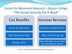 center for retirement research boston college the social security fix it book