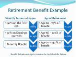retirement benefit example