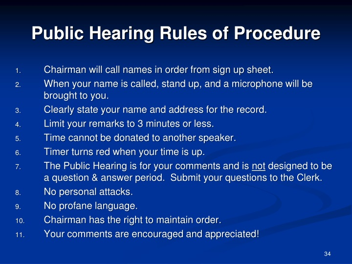 Public Hearing Rules of Procedure