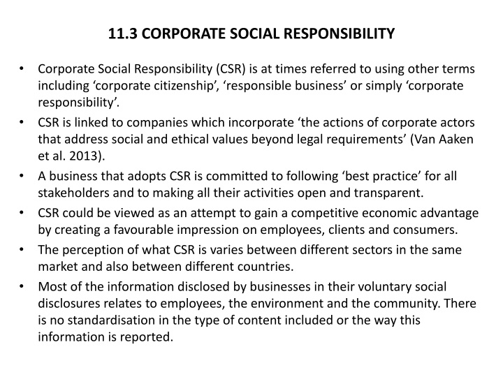 11.3 CORPORATE SOCIAL RESPONSIBILITY