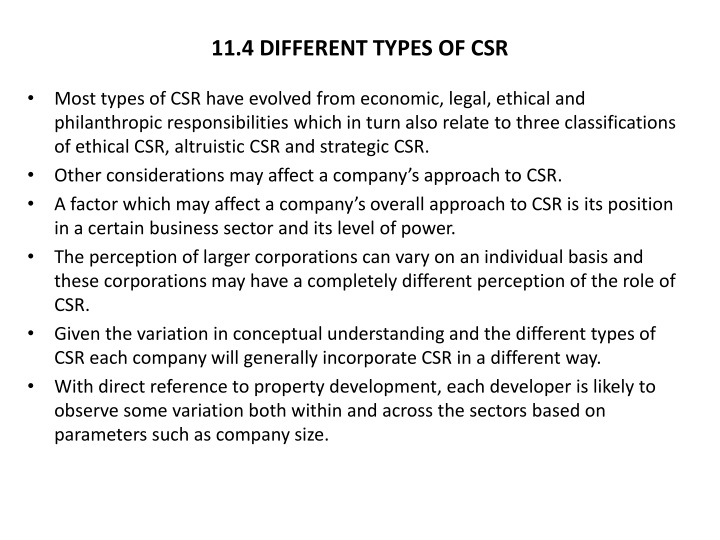 11.4 DIFFERENT TYPES OF CSR