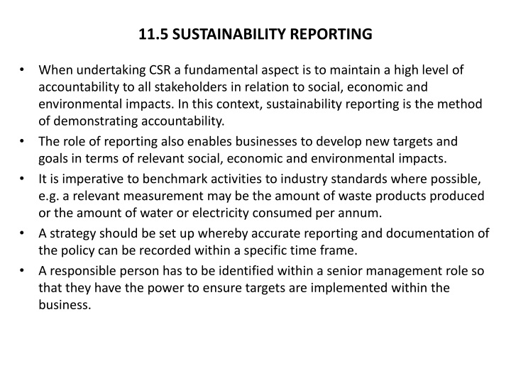 11.5 SUSTAINABILITY REPORTING