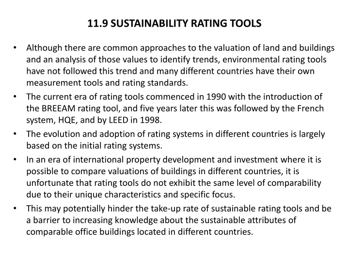 11.9 SUSTAINABILITY RATING TOOLS