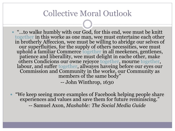 Collective Moral Outlook