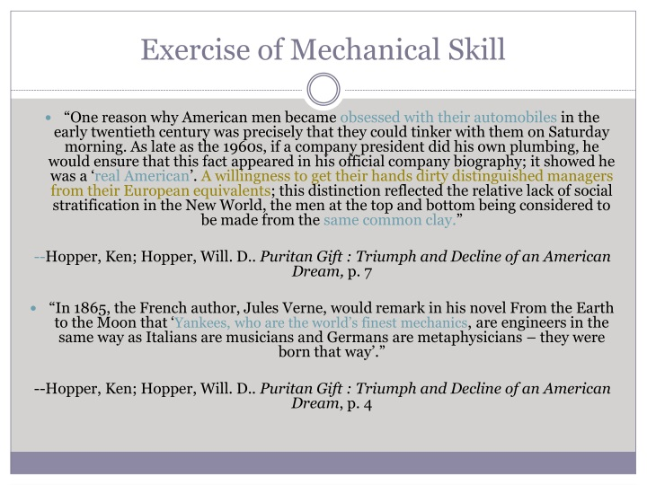 Exercise of Mechanical Skill