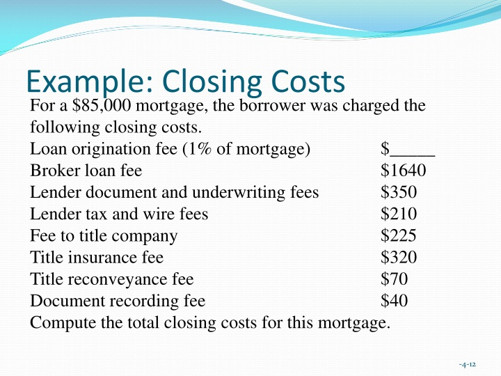 Example: Closing Costs