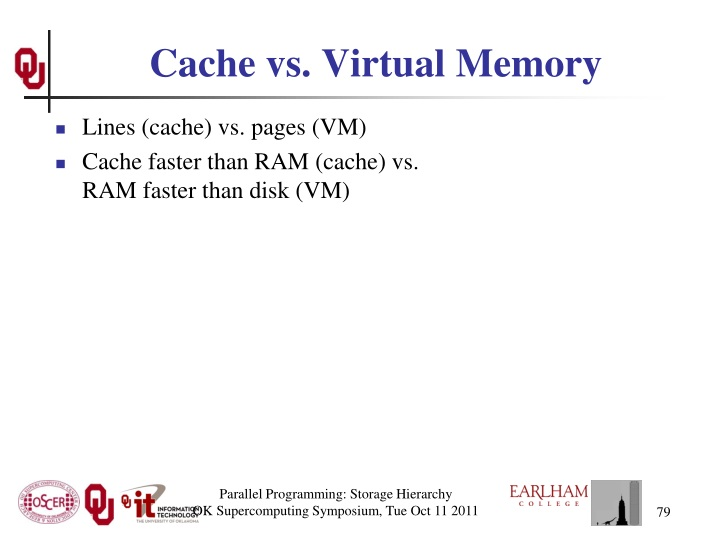 Cache vs. Virtual Memory