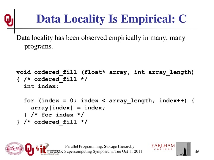 Data Locality Is Empirical: C