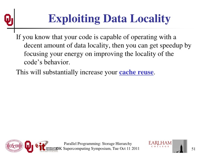 Exploiting Data Locality