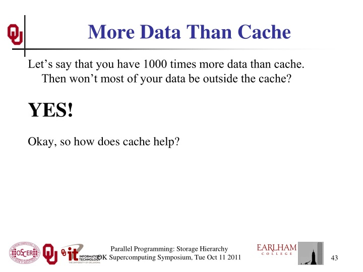 More Data Than Cache