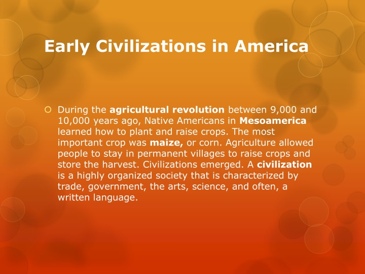 Early Civilizations in America