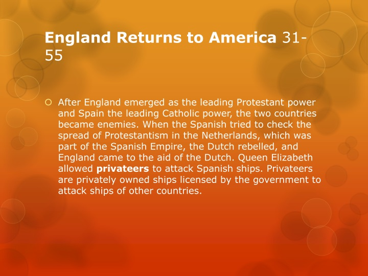 England Returns to America