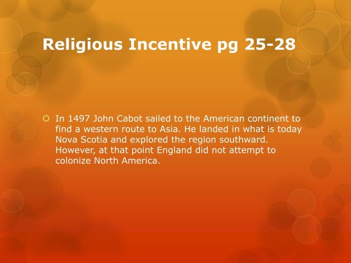 Religious Incentive