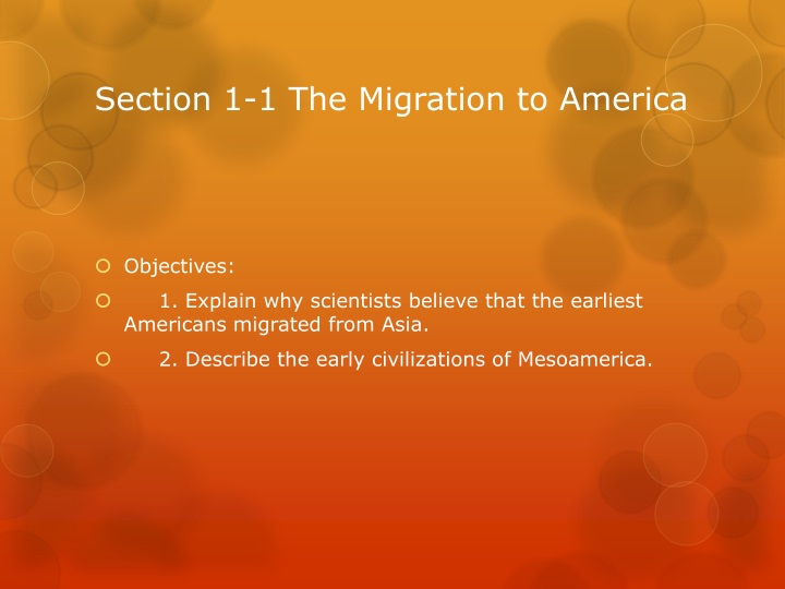 Section 1 1 the migration to america