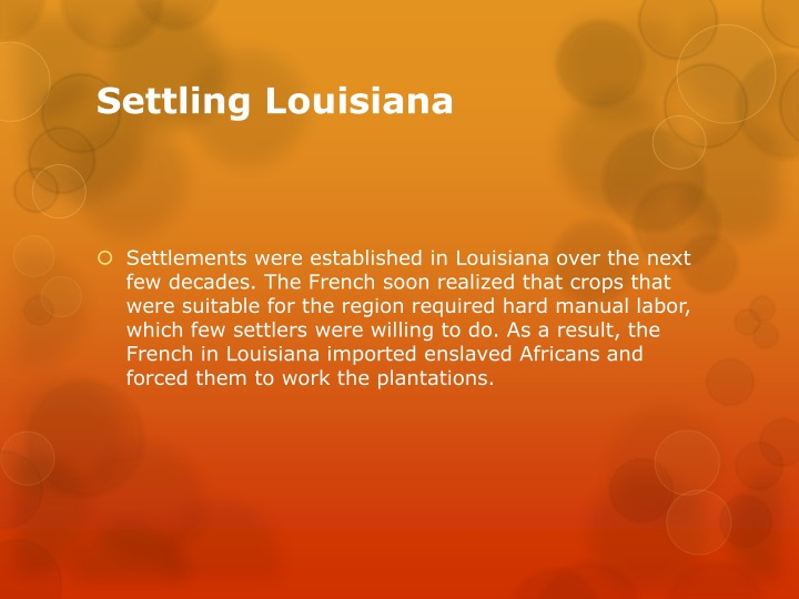 Settling Louisiana