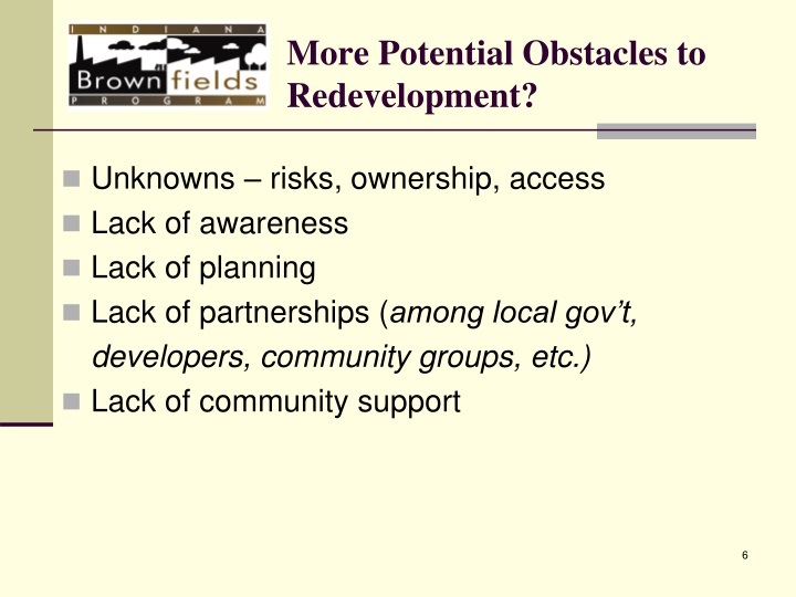 More Potential Obstacles to