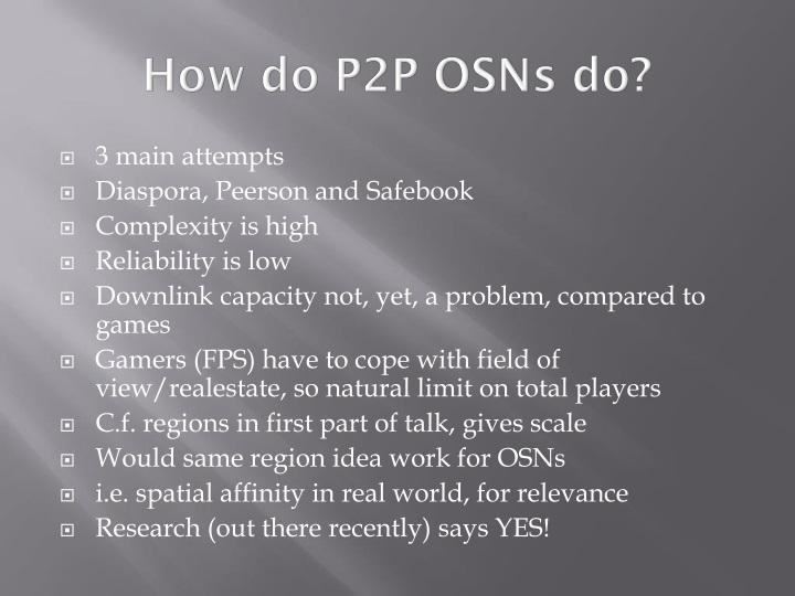 How do P2P OSNs do?