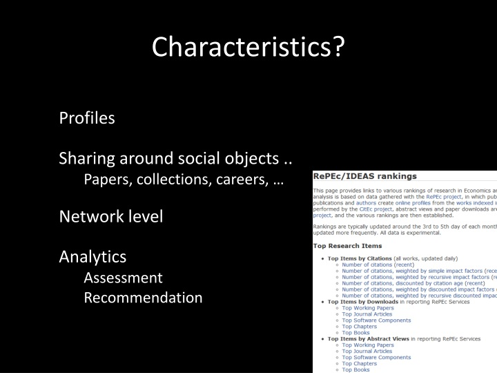 Characteristics?