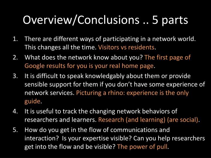 Overview/Conclusions .. 5 parts