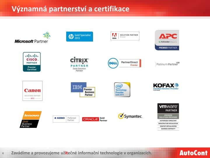 Významná partnerství a certifikace