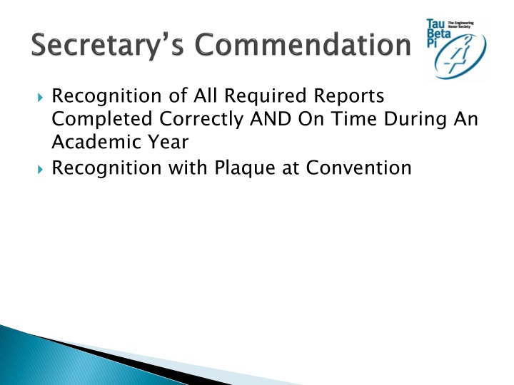 Secretary's Commendation