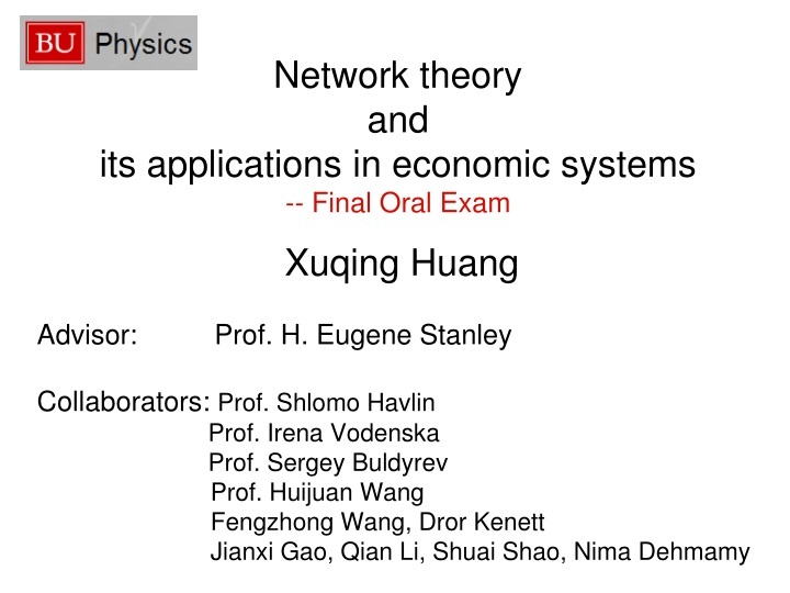 Network theory and its applications in economic systems final oral exam