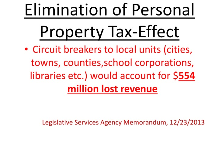 Elimination of personal property tax effect