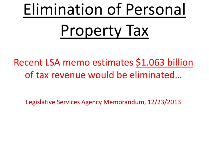 Elimination of personal property tax