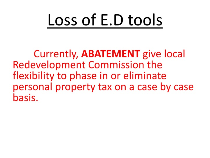 Loss of E.D tools