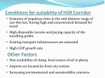 conditions for suitability of hsr corridor