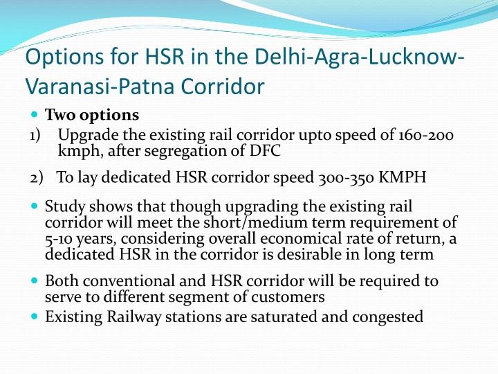 Options for HSR in the Delhi-Agra-