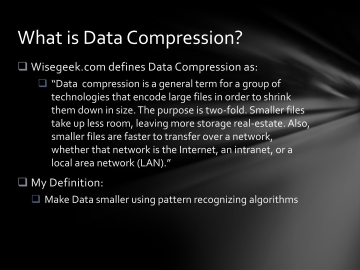 What is data compression